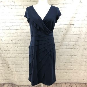 Joseph Ribkoff Navy Faux Wrap Short Sleeve Dress
